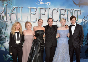 "Juno Temple, Lesley Manville, Angelina Jolie, Sharlto Copley, Elle Fanning and Sam Riley attend the World Premiere of Disney's ""Maleficent""."