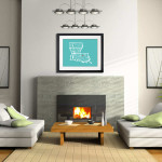 Modern Living Room with Fireplace framed